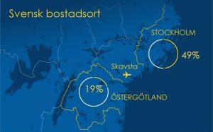Uppgiven bostadsort för resenärer som påbörjats sin ToR-resa i Sverige.
