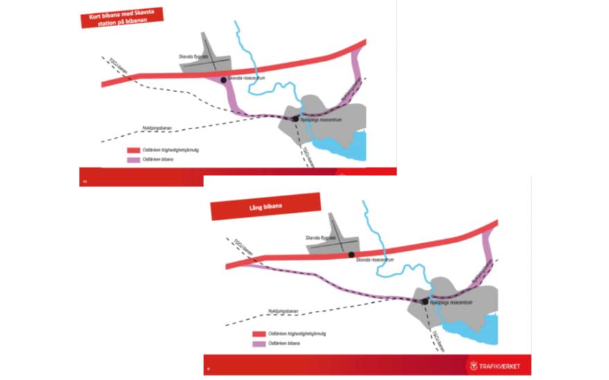 Järnvägsutredningens förslag med station på huvudbanan och det förslag Trafikverket nu utreder med station på bibanan