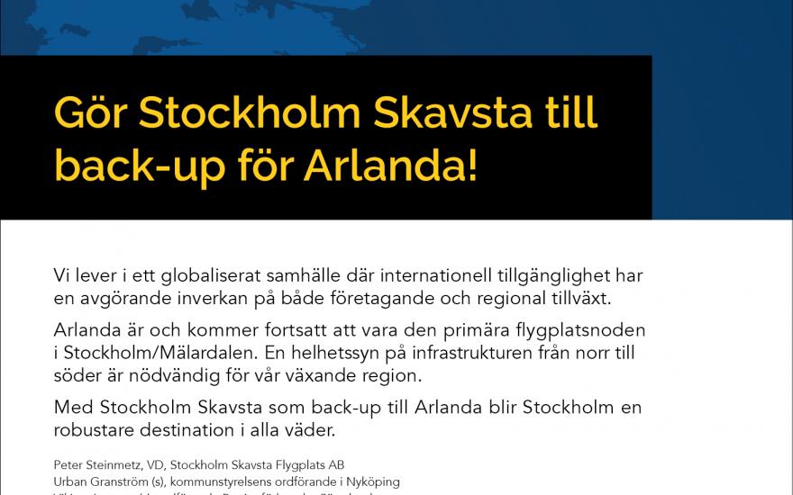 Gör Stockholm Skavsta till backup för Arlanda!